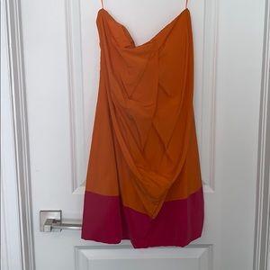 Orange and magenta color block dress. Silk.